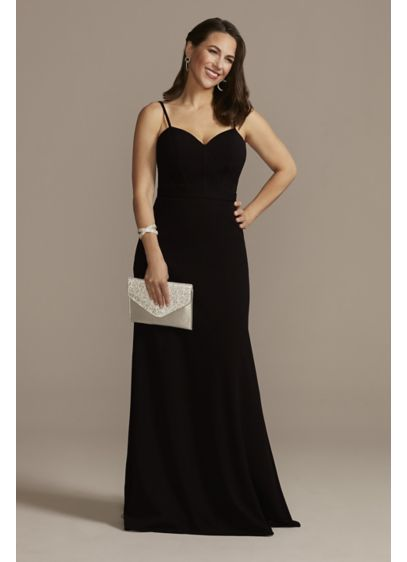 Crepe Corset Bodice Sheath Dress - This floor-length crepe dress combines simple and sexy