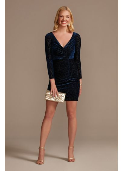 Long Sleeve Velvet Draped Sheath Dress - Together, burnout velvet fabric, an elegant silhouette, and