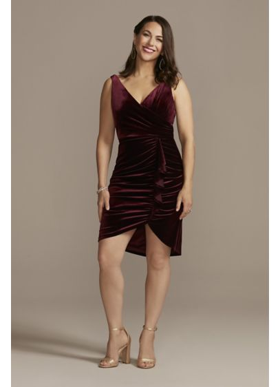 Short Red Soft & Flowy DB Studio Bridesmaid Dress