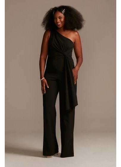 One Shoulder Tie Waist Crepe Jumpsuit - Relaxed and refined, this crepe jumpsuit has it