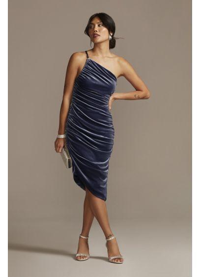 Asymmetrical Ruched Velvet Knee Length Dress - It's all about subtle glamour in this velvet