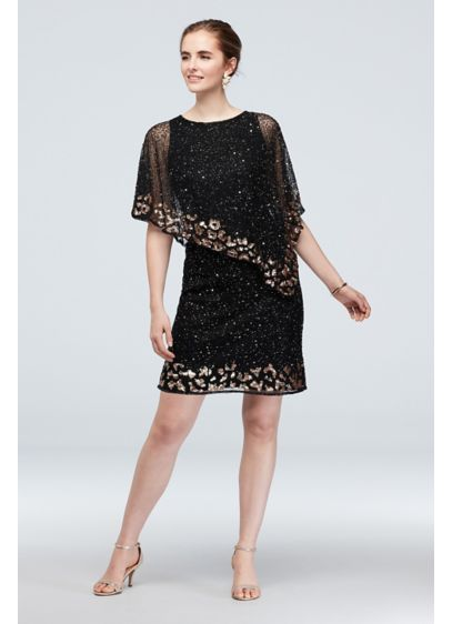 Bead and Sequin Asymmetric Chiffon Capelet Dress - Did someone say sparkle? You'll absolutely dazzle in