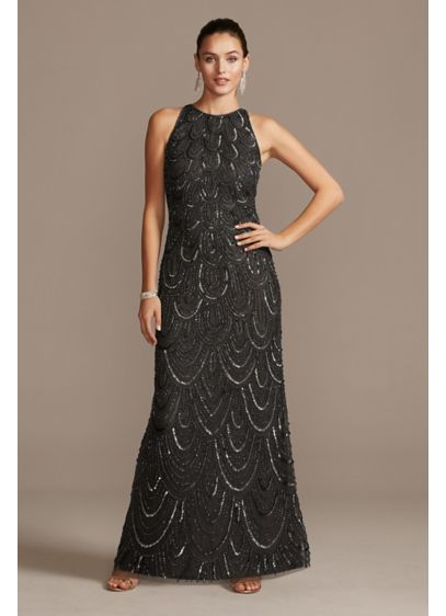 Beaded Mesh High Neck Sleeveless Sheath Dress - Adorned with a scalloped pattern of beads and
