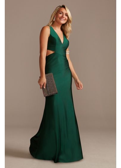 Satin V-Neck Sheath Gown with Waist Cutouts - Slinky and sassy, this satin sheath gown captivates