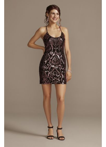 Sequin Pattern Spaghetti Strap Mini Dress - This intricately detailed mini sheath dress features a