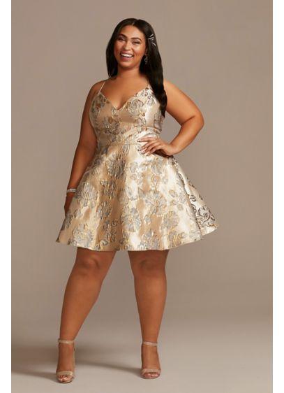 Plus Size Short Jacquard Floral A-Line Dress - Textured jacquard floral fabric transforms this plus size