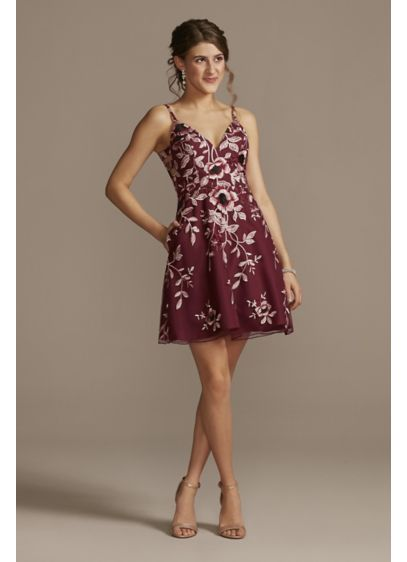Floral Applique Mini Dress - Beautiful blooms! This mini dress features an allover