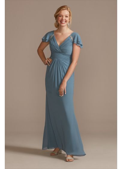 Pleated Flutter Sleeve Chiffon Dress with Crystals - This dreamy chiffon plus-size dress features layered flutter
