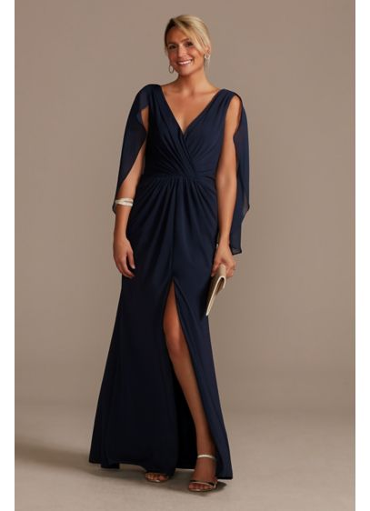 Chiffon Capelet V-Neck Pleated Dress with Slit - Va-va-voom! A plunging neckline and a skirt slit