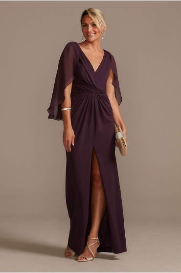 Chiffon Capelet V-Neck Pleated Dress with Slit