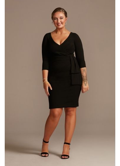 Knee Length Crepe Dress with Cascade - A classic sheath silhouette takes on a new