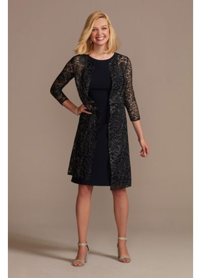 Knee Length Crepe Tank Dress and Matching Jacket - A textured metallic jacket with full sleeves overtop