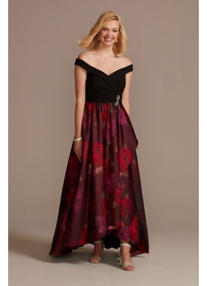 Off the Shoulder Ball Gown with Embellished Detail - For your next formal occasion, try this sophisticated