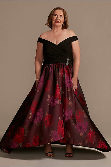 Off the Shoulder Plus Ball Gown with Embellishment