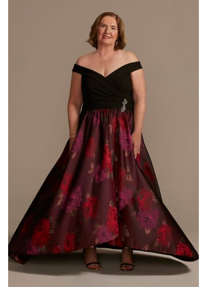 Off the Shoulder Plus Ball Gown with Embellishment - For your next formal occasion, try this sophisticated