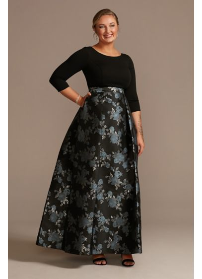 Crepe Ball Gown with Pleated Brocade Skirt - A sweeping floral skirt steals the show on