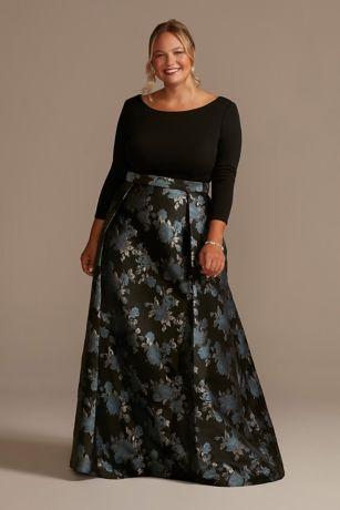 Long Ballgown Elbow Sleeves Dress - Oleg Cassini