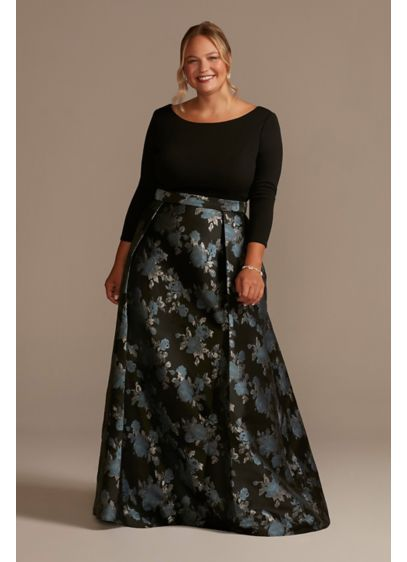 Long Ballgown Elbow Sleeves Dress -