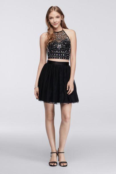 Homecoming Crop Top Skirt Set With Beadwork David S Bridal