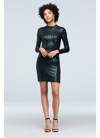 Mock Neck Long Sleeve Bodycon Metallic Dress - Channel a futuristic, fashion-forward vibe in this modern