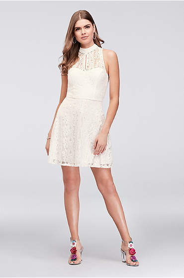 Lace Fit-and-Flare Dress with Illusion Neckline