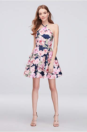 Floral Print Mikado Short Halter Dress