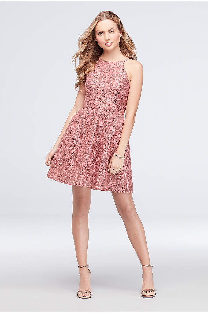 High Neck Metallic Lace Fit-and-Flare Dress - A dance-ready fit-and-flare dress, crafted of metallic lace