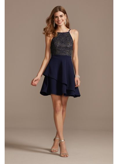 High Neck Layered Scuba Fit-and-Flare Mini Dress - Topped with a caviar-beaded, high-neck bodice, and finished