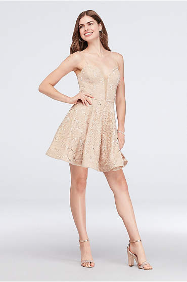 Plunge Neckline Sequined Lace Short A-Line Dress