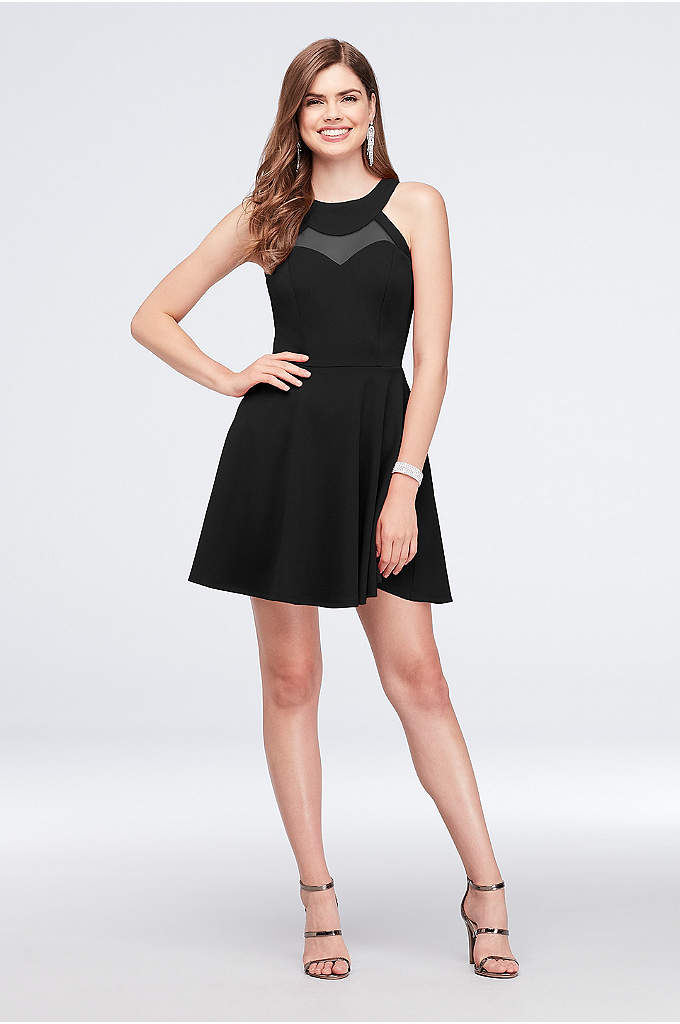Illusion Neckline Scuba Crepe Fit-and-Flare Dress - A sheer illusion inset accents the high neckline