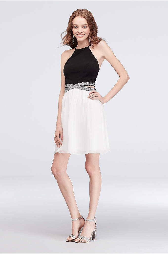 Colorblock Mesh Dress with Beaded Cutout Sides - Who doesn't love sparkle? This colorblocked jersey and