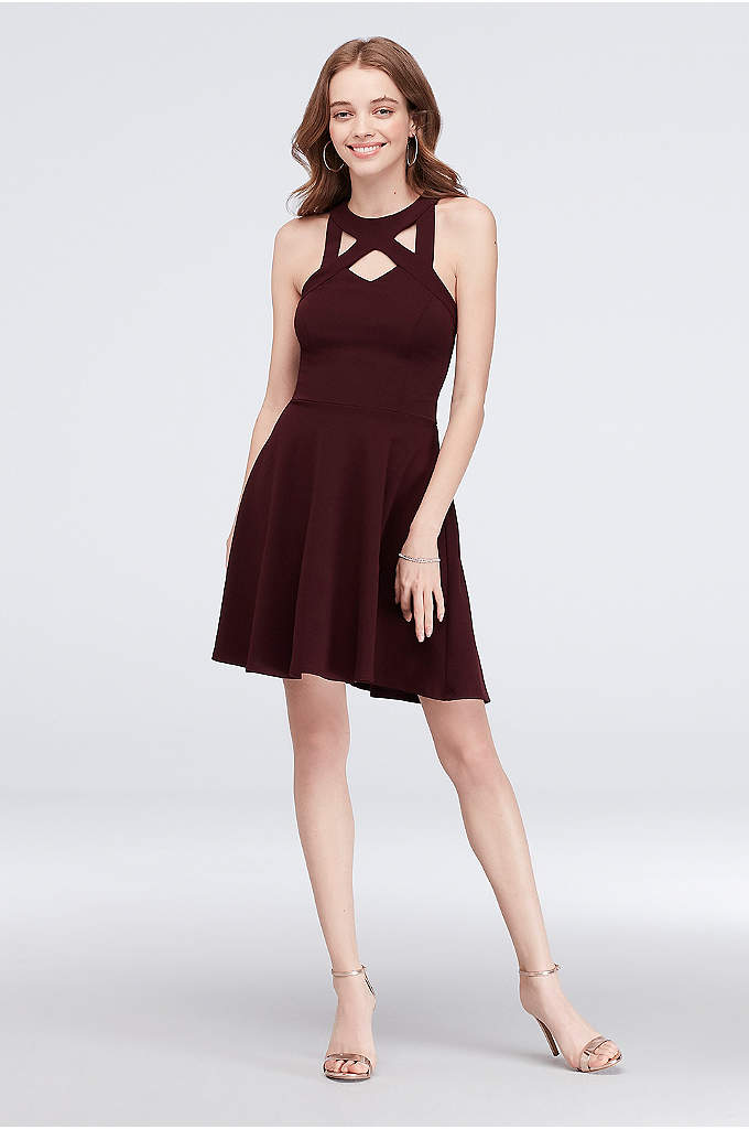 Cutout Neckline Scuba Crepe Fit-and-Flare Dress - Cool cutouts accent the high neckline of this