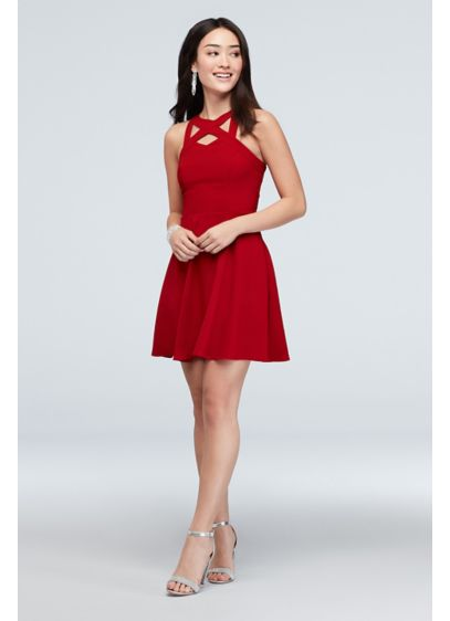 Cutout Neckline Racerback Dress with Pockets - It's all in the details for this stretch