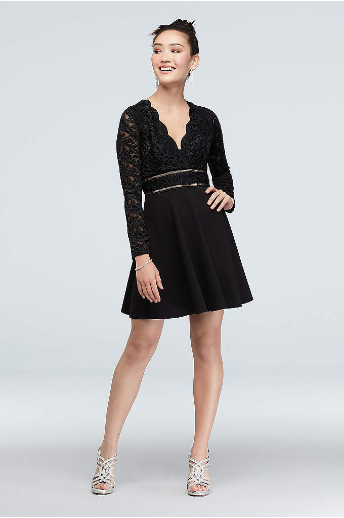 Scalloped V-Neck Illusion Fit and Flare Dress