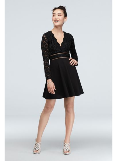 Scalloped V-Neck Illusion Fit and Flare Dress - The unique details of this long sleeve fit-and-flare