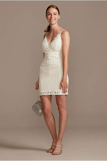 Scalloped V-Neck Lace Mini Dress with Crystals