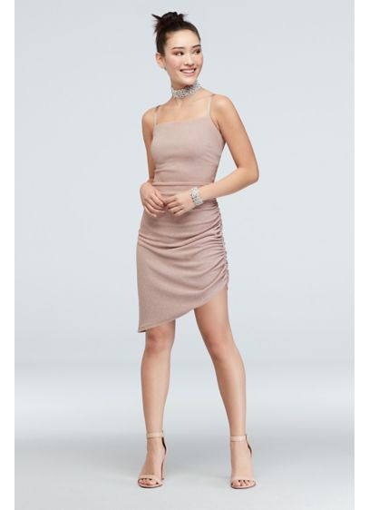 Asymmetric Square Neck Spaghetti Strap Dress - This stretchy sheath channels the chic runways of