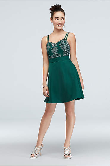 Caviar Beaded Embroidered Double Strap Short Dress