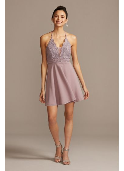 Lace Bodice Illusion Plunge Halter Mini Dress - Take the plunge in this halter mini dress,