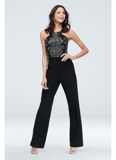 Circle Neck Scuba Crepe Jumpsuit with Caviar Beads - Sparkling glitter and delicate caviar beads, which swirl