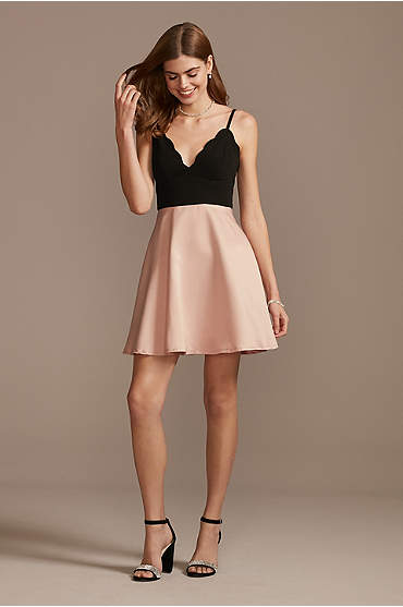 Short Scuba Crepe and Satin Fit-and-Flare Dress