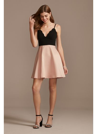 Short Scuba Crepe and Satin Fit-and-Flare Dress - Crafted of scuba crepe and satin, this twirl-worthy