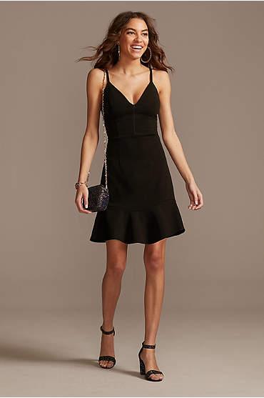 Ruffle Hem V-Neck Scuba Crepe A-Line Dress