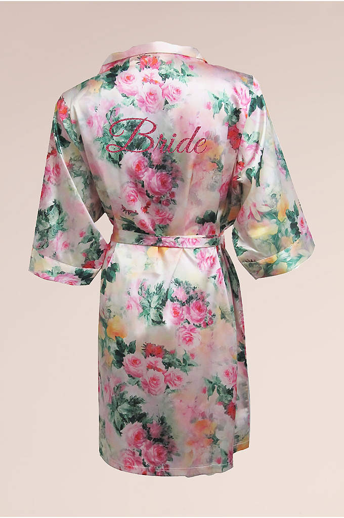DB Exc Pastel Floral Robe with Pink Glitter - This David's Bridal Exclusive pastel floral print robe