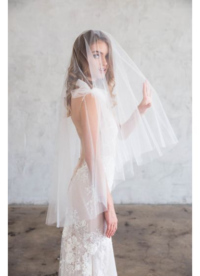 Raw-Edge Silk Tulle Fingertip Veil with Blusher - Simple and classic, this raw-edge two-tier fingertip veil