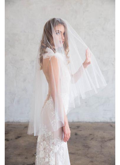 Raw-Edge Silk Tulle Fingertip Veil with Blusher - Wedding Accessories