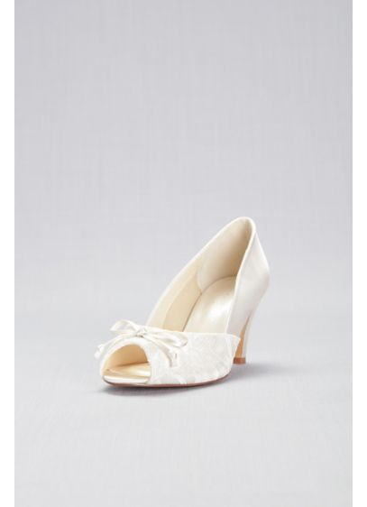 Lace and Satin Peep-Toe Wide Width Pumps with - A demure bow adorns these wide-width, low-heel, lace