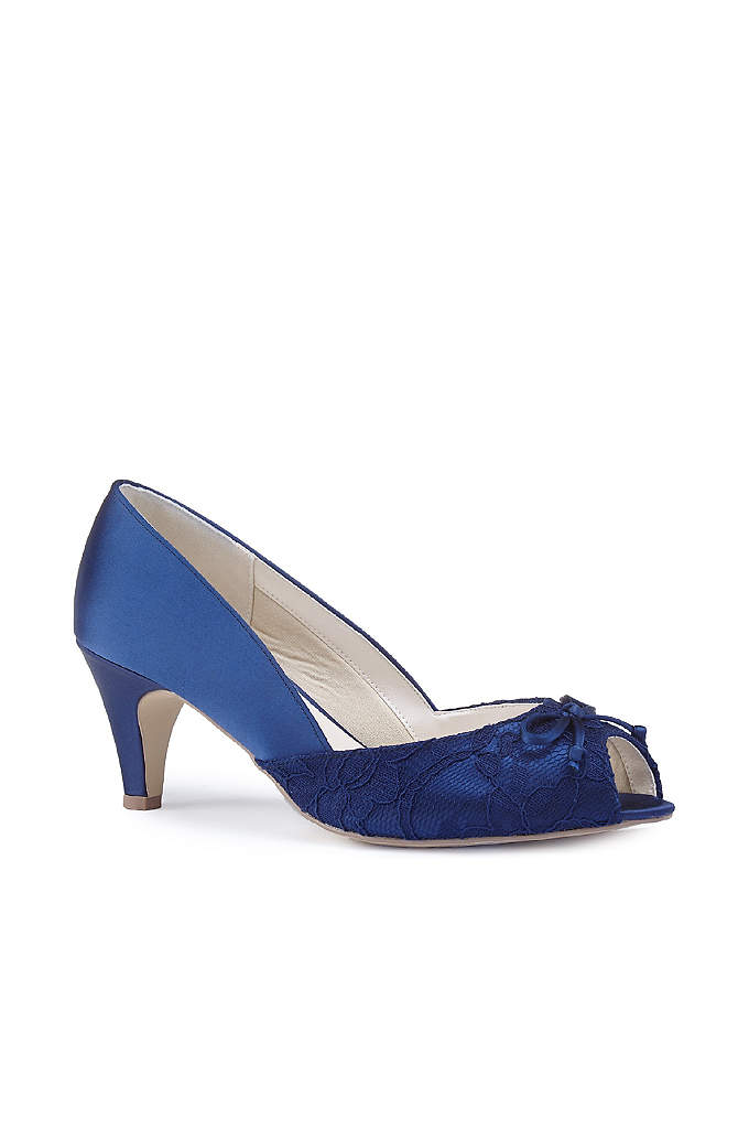 Lace and Satin Peep-Toe Wide Width Pumps with Bow
