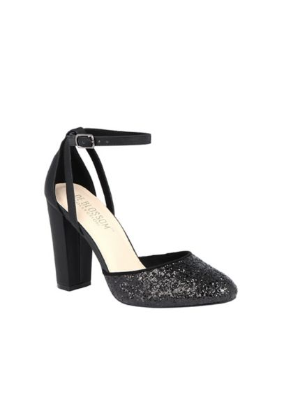 Blossom Black (Glitter D'Orsay Ankle Strap Cutout Block Heels)