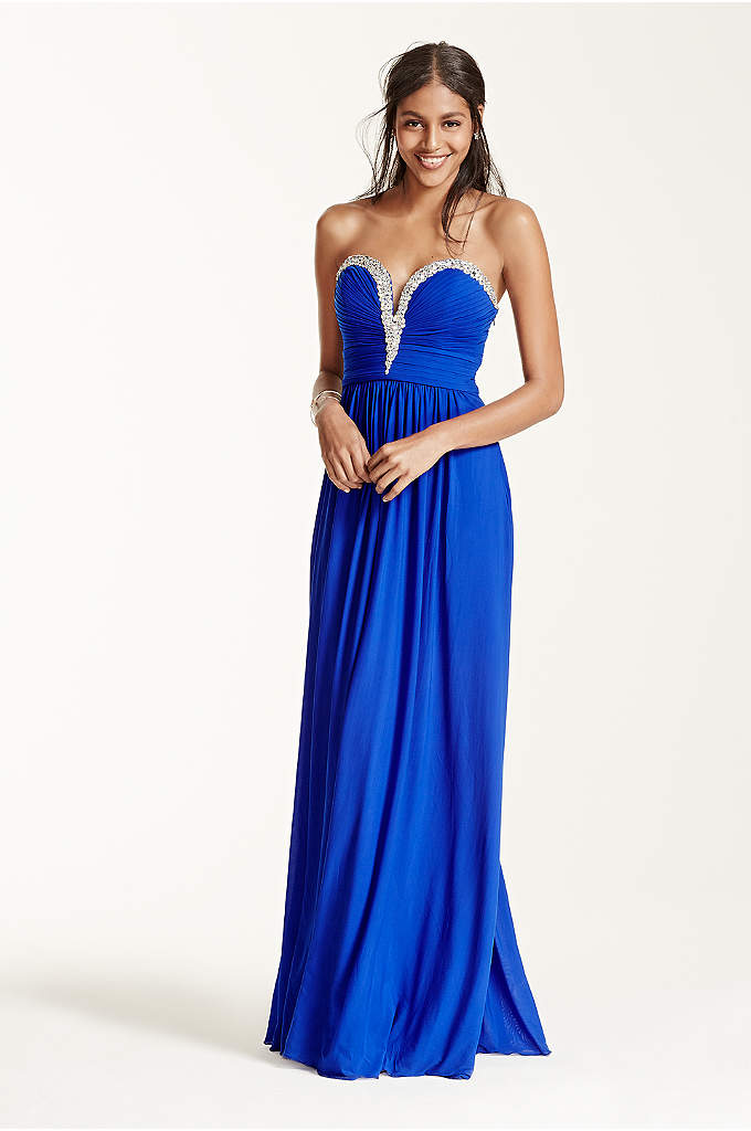 Crystal Embellished V-Plunge Neckline Prom Dress